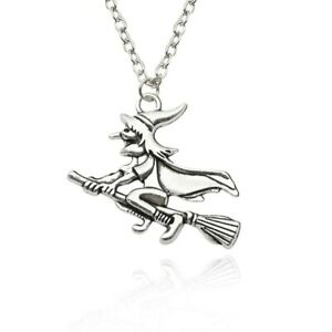 witch pendant necklace silver chain Halloween broomstick haunted gift prize UK