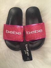 New Bebe Girls Hot Pink Bebe Logo Sparkly Flip Flops Sz 11/12T Summer Beach