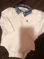 Baby Gap Boys Plaid Collar Bodysuit Teddy Bear Pocket Size 18-24 Months
