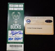 "KRISTAPS PORZINGIS SIGNED INSCRIPTION ""NBA DEBUT"" 10/28/15 TICKET STUB STEINER"