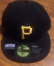 "NEW ERA MLB PITTSBURGH ""P"" PIRATES FITTED CAP IN BLACK 7 3/8!!!"