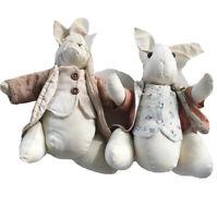 Set Vintage Farmhouse Bunny Rabbits Muslin Stuffed Doll Lot Of 2 Cute Clothes