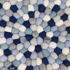 Pom Pom Rug Multicolored 100% Wool Carpet Felt Ball Designer Handmade Mat Round