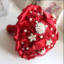Gorgeous Red Pearls Satin Roses Wedding Brooch Bridal Bouquet Bride Hand Flower