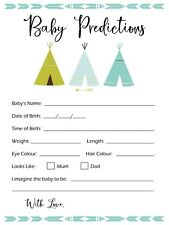 10 Baby Prediction Cards Baby Shower Games Tee Pee Boho 19cm x 13.5cm 300 GSM