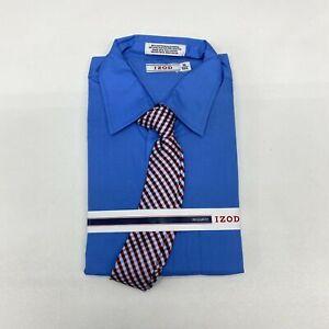 NWT IZOD Dress Shirt with Tie Men's 16 Long Sleeve Blue Regular Fit Cotton Blend