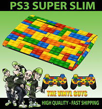 PLAYSTATION PS3 SUPER SLIM TOY BRICK WALL BLOCKS SKIN STICKER & 2 PAD SKINS