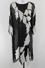 Black & White Sequin Long Sleeve Slip on Asymmetrical Hem Shift Dress Size L