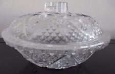 """Vintage KIM 7"""" Glass Bowl & Lid Fleur De Lis & Heart Design"""