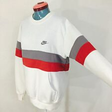 Vintage Nike Sweatshirt Thick Stripes Red Gray White Handwarmer Pockets Large