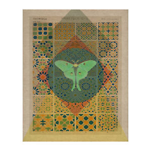 Bohemian Moon Wall Art | Luna Moth Picture | Vintage Hippie Style Print