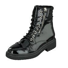 Jane Klain Woman Damen Schuhe Lack Boots Stiefel Schnürer 252-364 Black Lack NEU