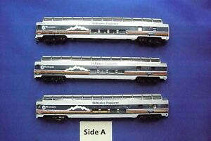 N Scale 85' McKinley Explorer Full Dome Cars.    Converted to M/T's  USED