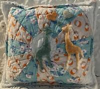 """NEW Handmade Giraffes Pillow  Vintage Quilt Chenille Bedspread  8.5"""" x 7.5"""""""