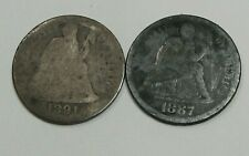 2- Seated LIBERTY Dimes. 1887, 1891.  #1