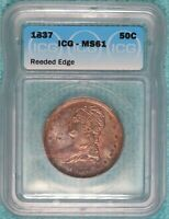 1837 MS-61 Capped Bust / Reeded Edge Half Dollar 50c Uncirculated Unc