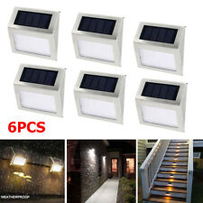 6Pcs Solar Power LED Deck Lights Outdoor Path Garden Stairs Step Fence Wall Lamp