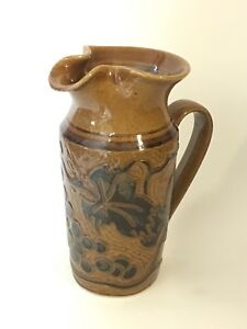 Large Studio Pottery Ceramic Pitcher Brown Embossed Grapes Artist Signed Dated