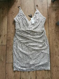 NEW! SALE! TFNC Tall wrap front sequin mini dress in silver UK 16