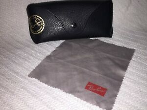 Ray Ban Pebbled Black Snap Close Unisex Sunglasses/Glasses Soft Case and Cloth