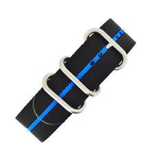 ZULU Nylon heavy duty Military Diver Watch Strap black with BLUE Stripe 3 rings