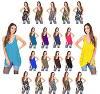 NEW WOMENS ROMPER V NECK LOOSE BAGGY FIT VEST TOP LADIES ARMY CAMI LAGENLOOK TOP