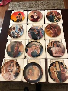 """RARE 12pc Plate Set Gone with the Wind Passions of Scarlett O Hara 8"""" COA & Box"""