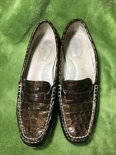 SPERRY Top-Sider Women's Alligator Brown Bronze Leather LOAFERS Shoes ~ Sz 6.5