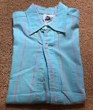Vintage Kennington 100% Cotton Short Sleeve Button Up Shirt- Blue, Orange, Green
