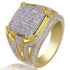 18K Yellow Gold Plated White Sapphire Ring Fashion Women Men's Wedding Size 6-10
