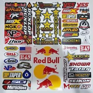 6X Rockstar Energy Sticker Motocross Motorcycle Logo Sponsor Honda Yamaha Arai.