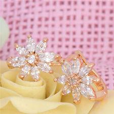 18k Gold Plated Cubic Zirconia Cuff Flower Stud Earrings Women Jewelry