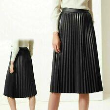 M&s Black Faux Leather Pleated Midi Skirt Size 22 EU 50