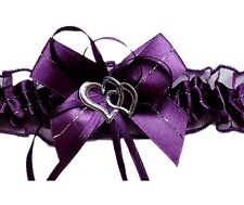 satin jarretière Violet/prune 2 coeurs nœud satin mariée fait à la main EU