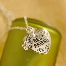 Best Friends Antique Silver Retro Heart Magnetic Clap Photo Locket Necklace