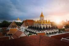 Golden Buddha Temple Bangkok Thailand at Sunset Photo Art Print Poster 18x12 inc