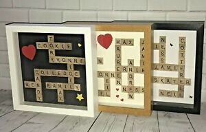"""Personalised Scrabble Art Picture Gift Birthday Wedding Engagement~8"""" Box Frame"""