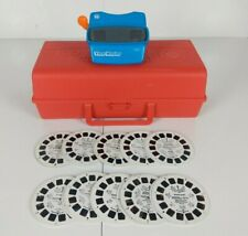Blue 3D Viewmaster Viewer with 30 Reels (10 sets) and Red Carrying Case