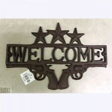 Double Pistols Cast Iron Welcome Texas Stars Plaque Sign Rustic Western Decor
