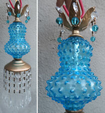1 Vintage Swag brass tole Fenton Art Glass Crystal Lamp prism aqua blue hobnail
