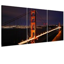 Framed HD Canvas Print Wall Art Picture-Golden Gate Bridge Night Ready to Hang