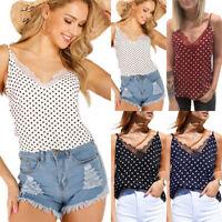 Women Lace Polka Dot V Neck Vest Blouse Tank Top Strappy Sleeveless Casual Shirt