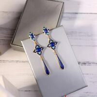 Boucles d'Oreilles CLIP ON Chandelier Goutte Long Email Bleu Marine Art Deco A23