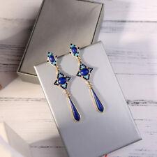 Boucles d'Oreilles Art Deco Chandelier Lapis Lazuli Goutte Long Email Bleu AA23