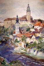 Aquarell, Krumau a. d. Moldau / Tschechien, Augustine von der Heydt (1888-1968)
