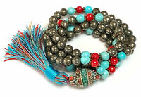 108 pyrite coral turquoise mala beads necklace pyrite mens jewelry money attract