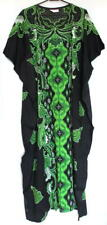 Batik Kaftan Calf Length Floral Design Black Green - New