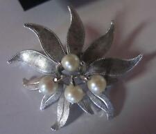 Van Dell Sterling Silver / Faux Pearl Brooch Pin & Screw Back Earrings Set
