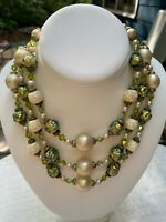 Vintage Vendome Three Strand Necklace~Crystals, Faux Pearls & Gold & Green Beads
