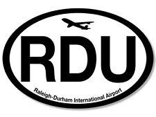 3x5 inch Oval RDU Sticker - raleigh durham international airport nc airlines us